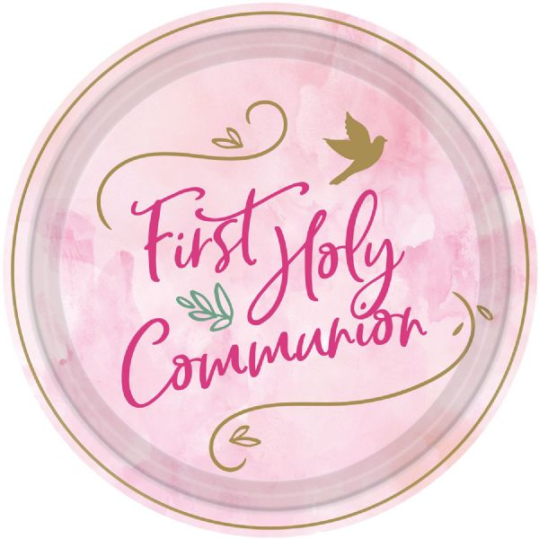 Pink First Holy Communion Paper Plates 23cm